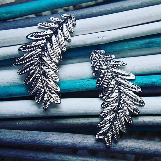 Silver Leaves Earrings $20