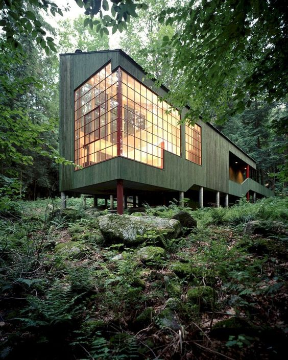 Forest House: A Small Summer Home within Dark Evergreens and Bright Woodland -  -