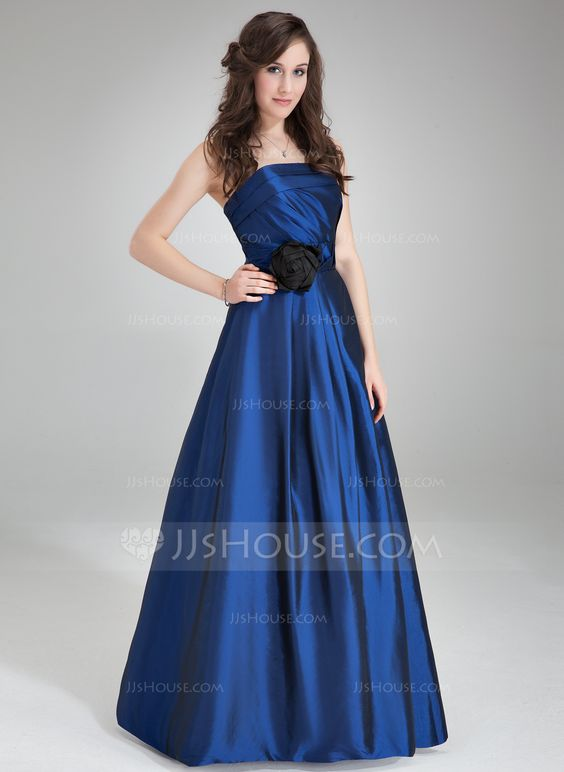 A-Line/Princess Strapless Floor-Length Ruffle Flower(s) Zipper Up Strapless Sleeveless No Other Colors Spring Summer Fall Winter General Plus Taffeta Bridesmaid Dress