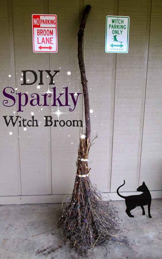 THE REHOMESTEADERS: DIY Sparkly Witch Broom - what a cheap and easy way to make a broom with a bit of bling! Maybe lights in and around?