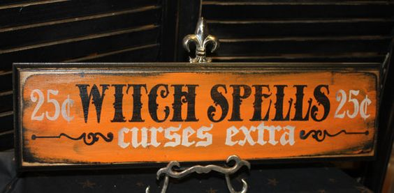 WITCH SPELLS Sign /Curses Extra/wood sign handpainted/Halloween Sign
