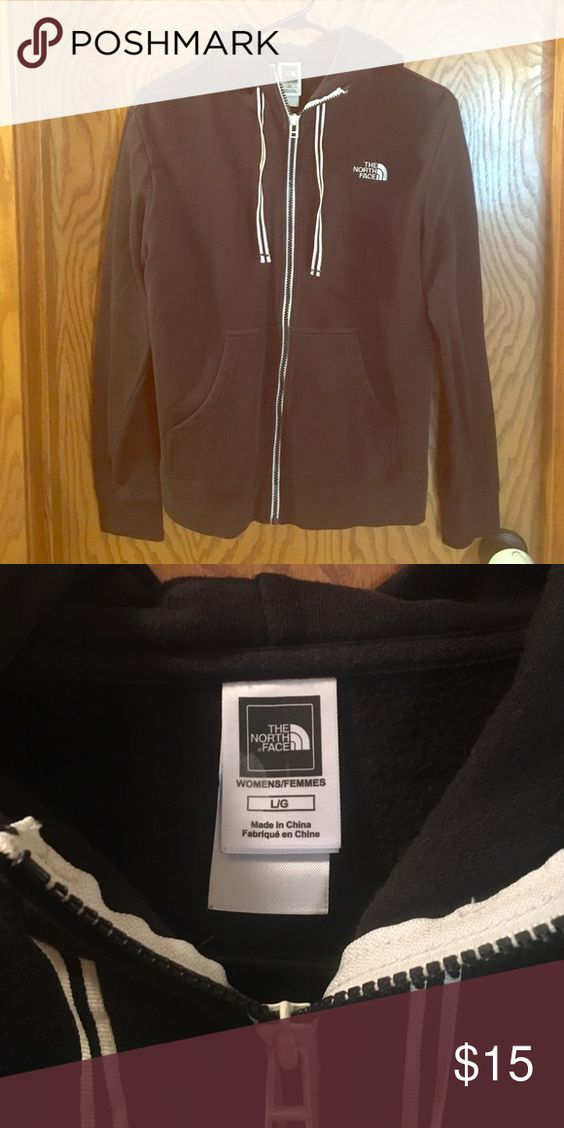 Black North Face zip up hoody Black with white around zipper and on strings. The North Face Tops Sweatshirts & Hoodies
