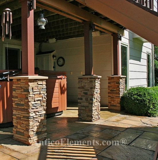 Faux stone columns also called post wraps and column wraps can