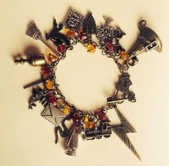 Harry potter beaded charm bracelet by JicsisJewellery on Etsy: