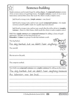 Worksheet Writing Worksheets For 5th Grade writing worksheets and sentences on pinterest 3rd grade 4th 5th compound sentences