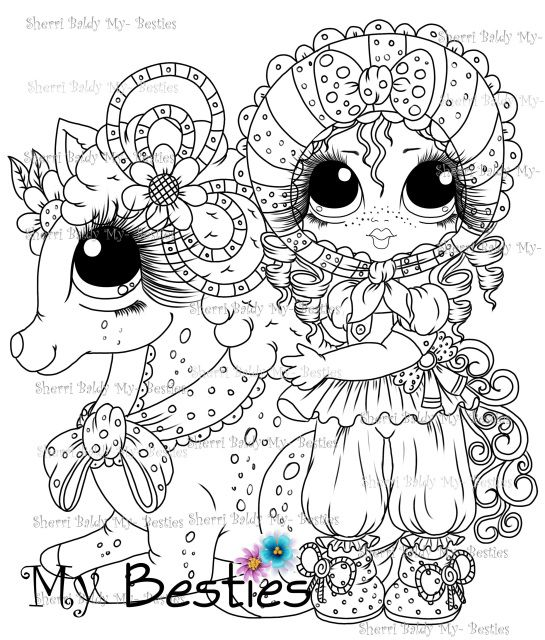 Instant Download Digital Digi Stamps Big Eye Big Head Dolls Digi My Down On The Farm Besties Doll 5 By Sherri Baldy Digi Stamps Big Eyes Art Coloring Pages