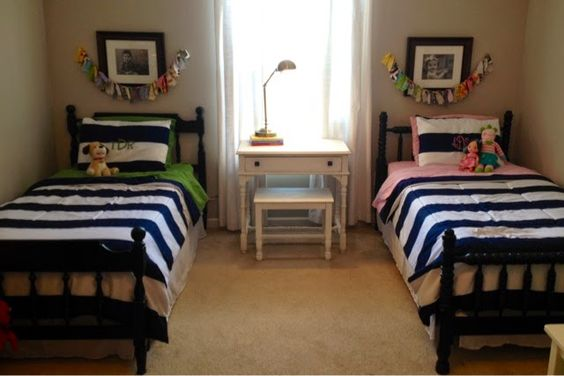 Shared Boys Geometrical Bedroom: Boy/girl Shared Room Maybe Put The Vanity Between The Beds