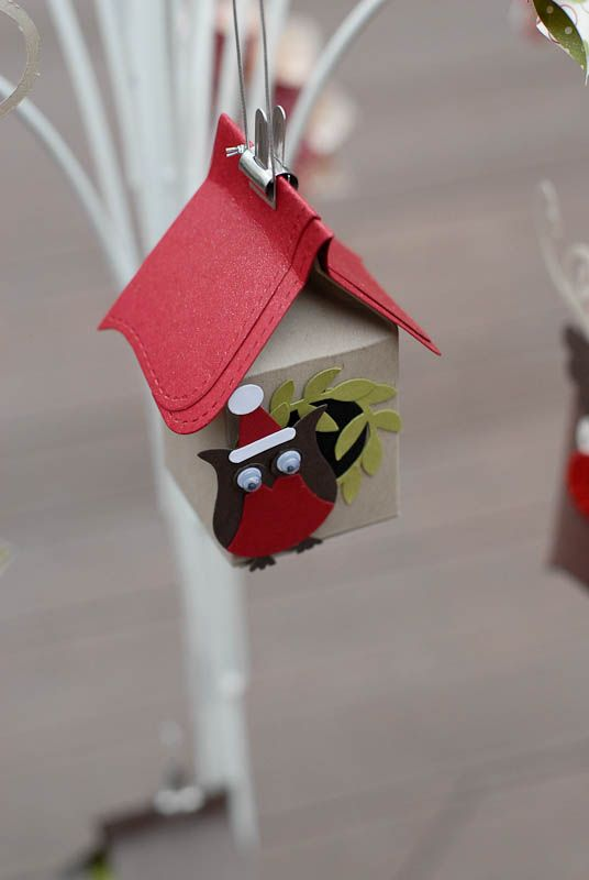 STAMPIN UP : bird houses using the mini milk carton die cut & the Big Shot