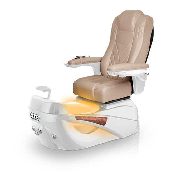 Luminous pedi-spa shown in Acorn Ultraleather cushion, White Pearl base, Aurora LED Color-Changing bowl (shown in orange)