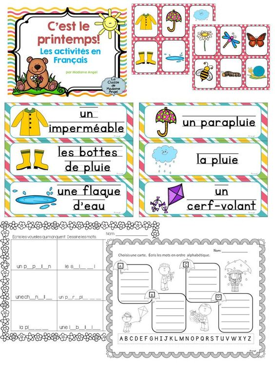 le printemps spring themed literacy activities in french spring card games and activities. Black Bedroom Furniture Sets. Home Design Ideas