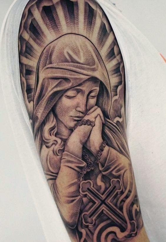 Tatuagem Religiosa Santa Maria Anjos Perna Desenho Deus Braco