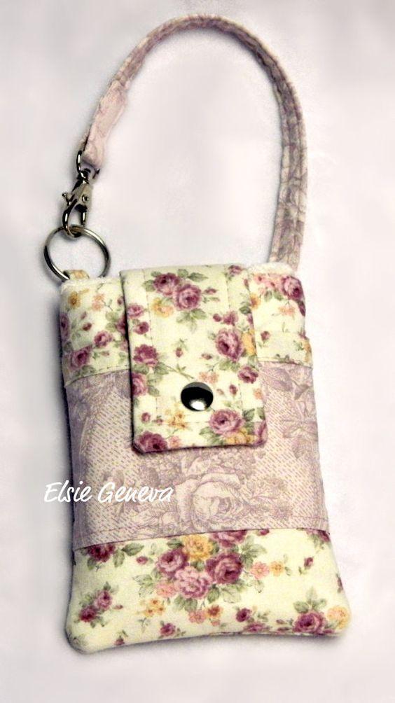 Ivory Cottage Rose Smoke Phone Case with Wristlet by elsiegeneva, $34.00