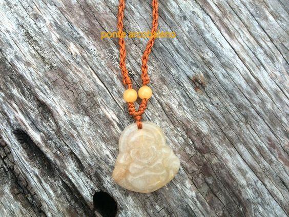 Collana etnica Buddha/ pietra semi preziosa/ topazio/ alta qualità/ regalo/ gioiello/ orientale/ mistico di PonteArcobaleno su Etsy