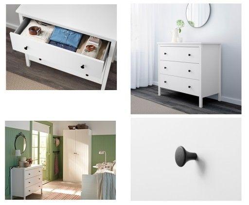 Ikea Koppang Komoda 3 Szuflady 90x83x46 Cm Biała Wnętrza