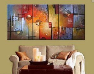 Amazon.com: 100% Hand Painted Art Large Modern Abstract Oil Painting on Canvas 3 Piece Wall Art Decor for Home Decoration Stretched Ready to Hang: Home & Kitchen