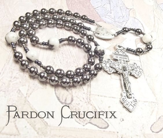 Catholic Rosary with Pardon Crucifix and Haematite & by tiggawild