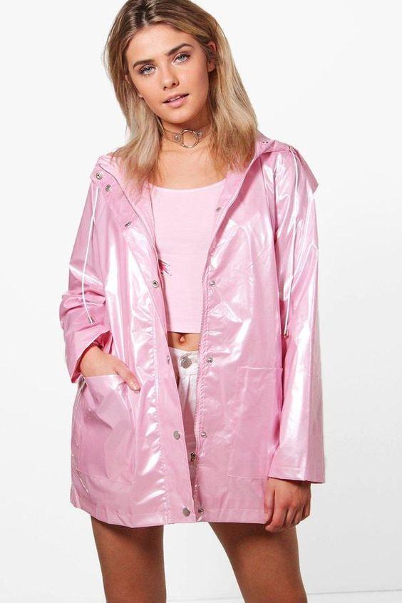 Lily Metallic Rain Coat Boohoo, Pink Plastic Trench Coat