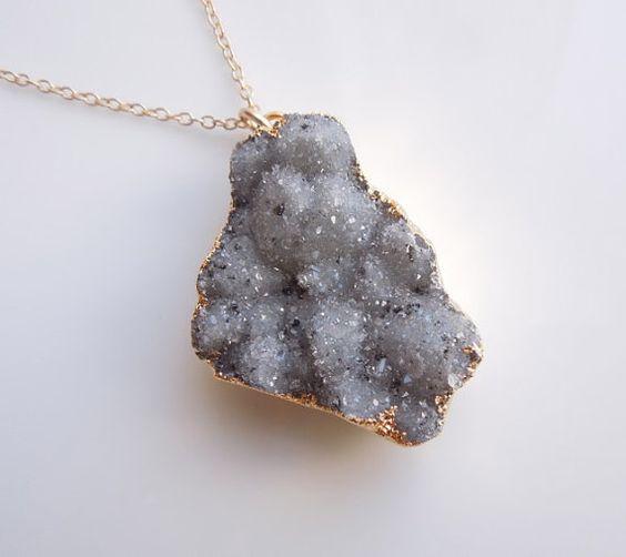 Sage Green Druzy Necklace, Statement Jewelry, OOAK