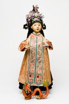 Chinese Girl with Dragon Puppet an Art Doll by Friedericy Dolls