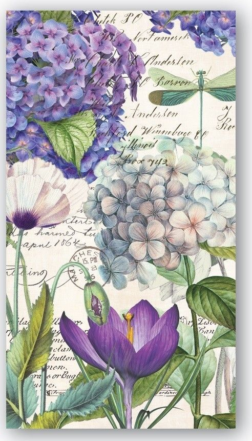 Michel Design Works Kitchen Dining Hydrangea Hostess Napkins:
