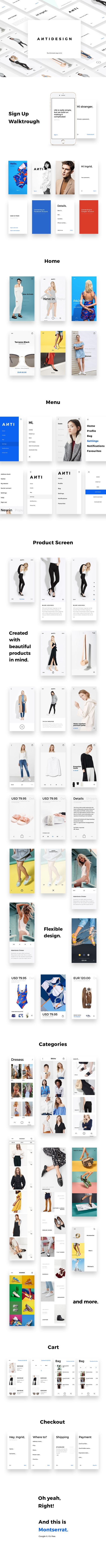 Antidesign the minimalist e commerce ui kit on behance