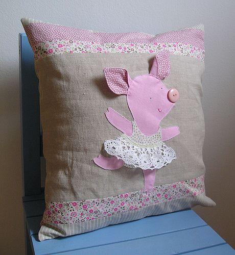 Balerina Anyuschka Piglovska - linen cushion cover   Flickr: Intercambio de fotos: