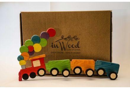 Trenino dei Colori, appendiabiti in legno per la cameretta