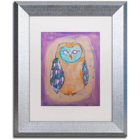 Trademark Fine Art 'Owl I' Canvas Art by Nicole Dietz, White Matte, Silver Frame, Size: 11 x 14, Assorted