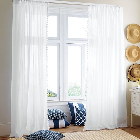 ::library:: French Tassel Window Panel – White | Serena & Lily