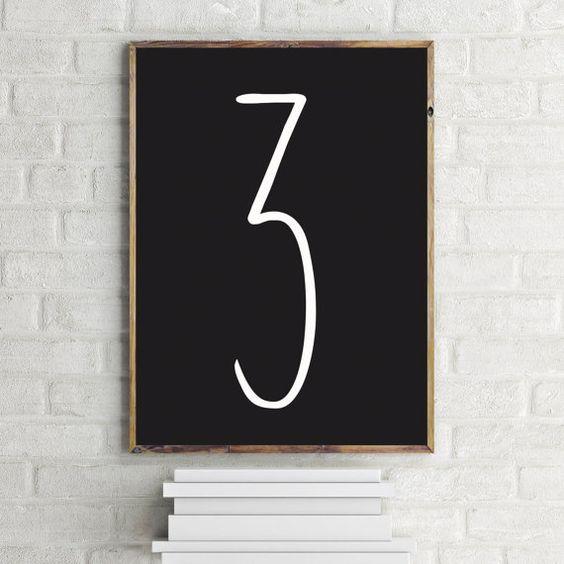 Drei Print 3 Art Anzahl moderne Kunstdruck von FinlayAndNoa auf Etsy