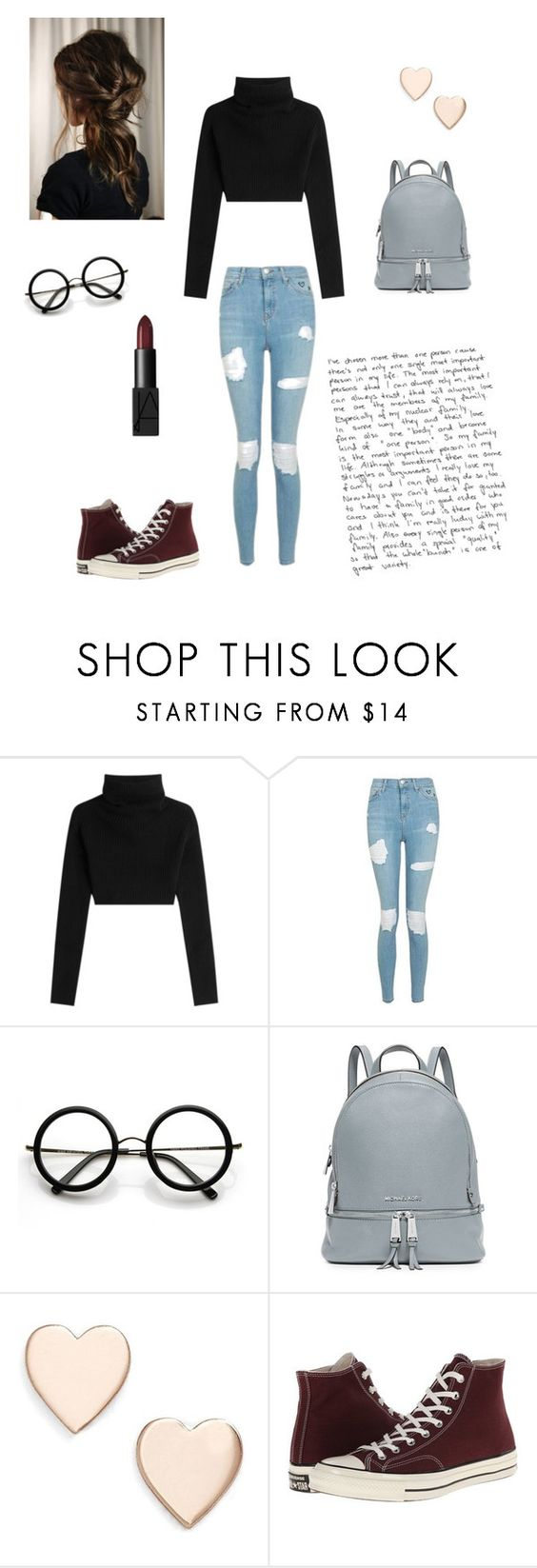 """""""Untitled #82"""" by brianna-miller-bts-army ❤ liked on Polyvore featuring Valentino, Topshop, ZeroUV, MICHAEL Michael Kors, Poppy Finch, Converse and NARS Cosmetics"""