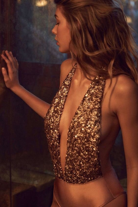 Out From Under Sequin Super Plunge Bodysuit - Urban Outfitters | @andwhatelse: