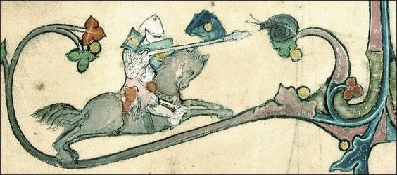 Is he seriously jousting a snail??? -- from the work of Brunetto Latini (ca. 1220-1294):