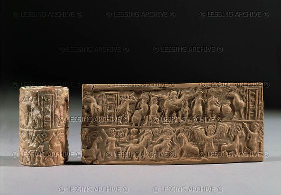 Cylinder seal and imprint from Mari, Archaic Dynasties. Top register: agricultural scene, milking cows, goats. Bottom register: Human-headed bull between two heroes with maces;eagle with lion-head. H: 4,3 cm AO 10920    Louvre, Departement des Antiquites Orientales, Paris, France