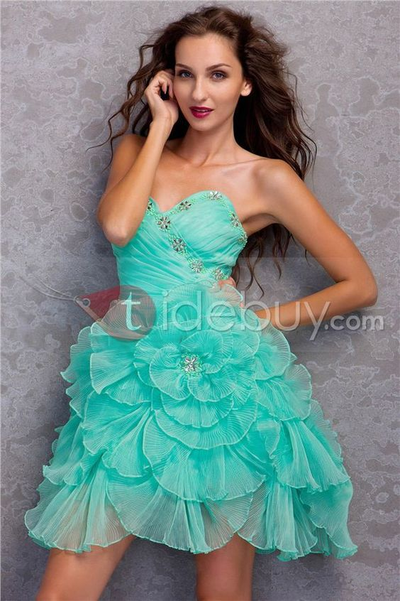 Brilliant A-Line Sweetheart Mini/Short-Length Ruffles Miriama's Prom/Homecoming Dress too short for comfort but cute