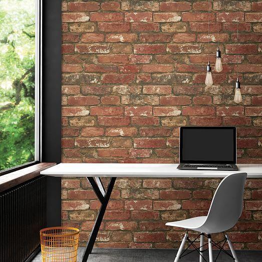 Distressed Red Brick Peel Stick Wallpaper In 2021 Faux Brick Brick Wall Wallpaper Brick Feature Wall
