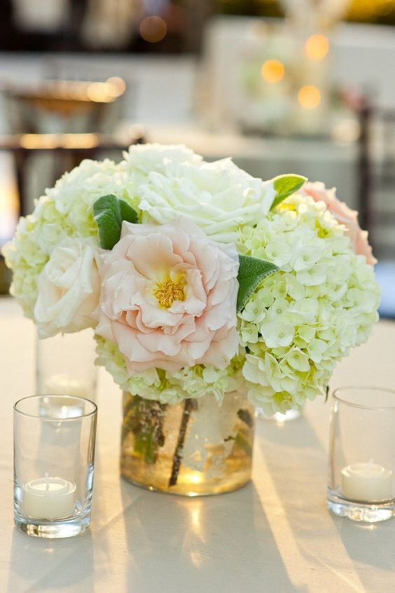 Centerpiece hydrangeas peonies and candles food