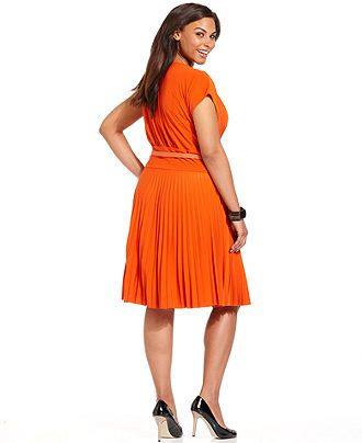 Alfani Plus Size Dress, Short-Sleeve Pleated A-Line Belted - Plus Size Dresses - Plus Sizes - Macy's