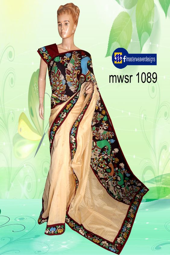 fancy #chenderi #stripes #fabric is designed using #penkalamkari big & small borders with #mangalagiri patchings & with a mangalagiri #blouse. Code: mwsr 1089 Price: 3300/- (bulk buyers / Wholesale / boutiques /Retail shops for trade inquiries please contact our Whatsapp no 8801302000)