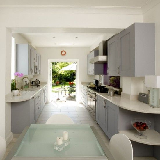 Galley Kitchen With French Doors: The Layout Of This Galley-style Kitchen Combines Elegance