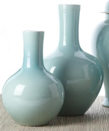 Styling | Console (Expensive) Set of 2 Aquamarine Collar Vases 20% off promo BHPN3 You can buy them individually at Millie Rae's -- maybe 1 for $165?