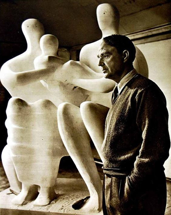 "1949 Photograph of British sculptor Henry Moore. -""The creative habit is like a drug. The particular obsession changes, but the excitement, the thrill of your creation lasts."""
