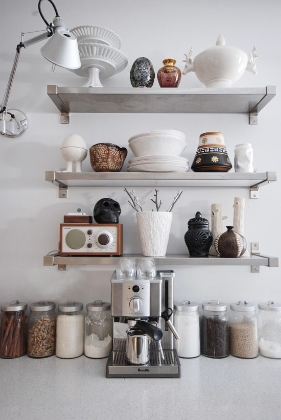 Bringing pretty art pottery into the kitchen on open shelves. :: desire to inspire