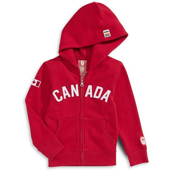 OLYMPIC COLLECTION Flocked Canada Hoodie Hudson's Bay ($45) ❤ liked on Polyvore featuring tops, hoodies, hooded pullover, sweatshirts hoodies, red hoodie, red hoodies and red hooded sweatshirt