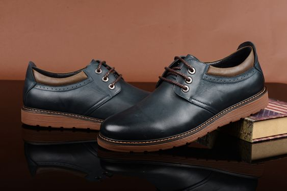 FGN Brand British Style Men's Genuine Leather Lace Up Oxfords Shoes A496150T - Dark Blue