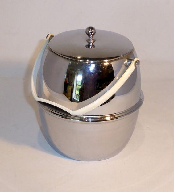 Vintage chrome ice bucket / biscuit barrel by RetroriginalUK  Barware  Ice Buckets  Chrome  Ice  bucket  biscuit  Barrel storage  cream  handle  plastic  silver