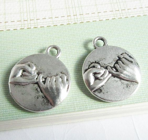Pinkie Swear Tag Charms 25pcs Antique Silver Pinkie by DIYBeadshop, $2.85