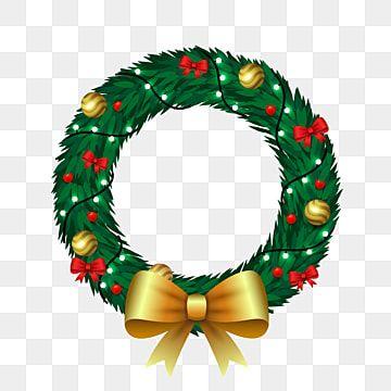 Cartoon Christmas Wreath With Light Bulbs And Golden Bow Vector Wreath Clipart Christmaswreathvector Wreathxmas Png And Vector With Transparent Background Fo Bow Vector Christmas Wreaths Christmas Wreaths With Lights