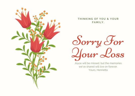 Red And Green Illustrated Flower Sympathy Card Templates Pertaining To Sorry For Your Loss Card Sympathy Cards Happy New Year Sms Father S Day Card Template