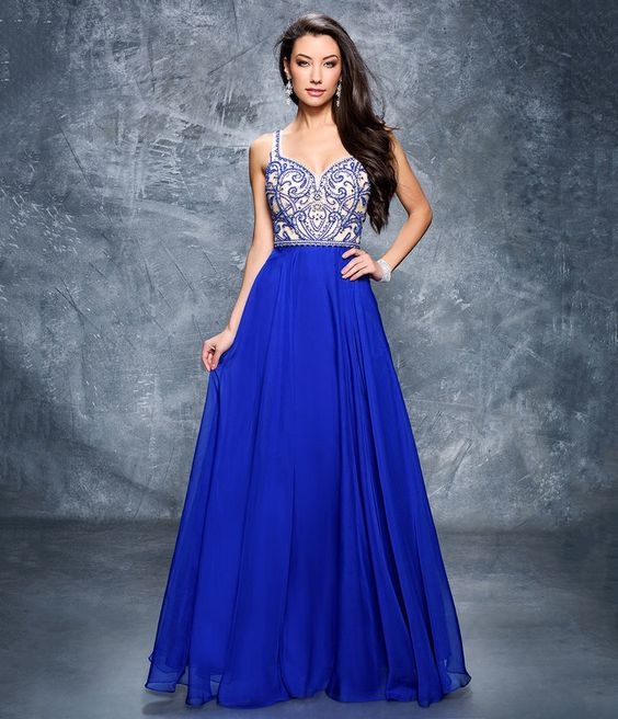 Preorder Nina Canacci 1315 Royal Blue Embellished Sweetheart Chiffon Gown For Prom 2017